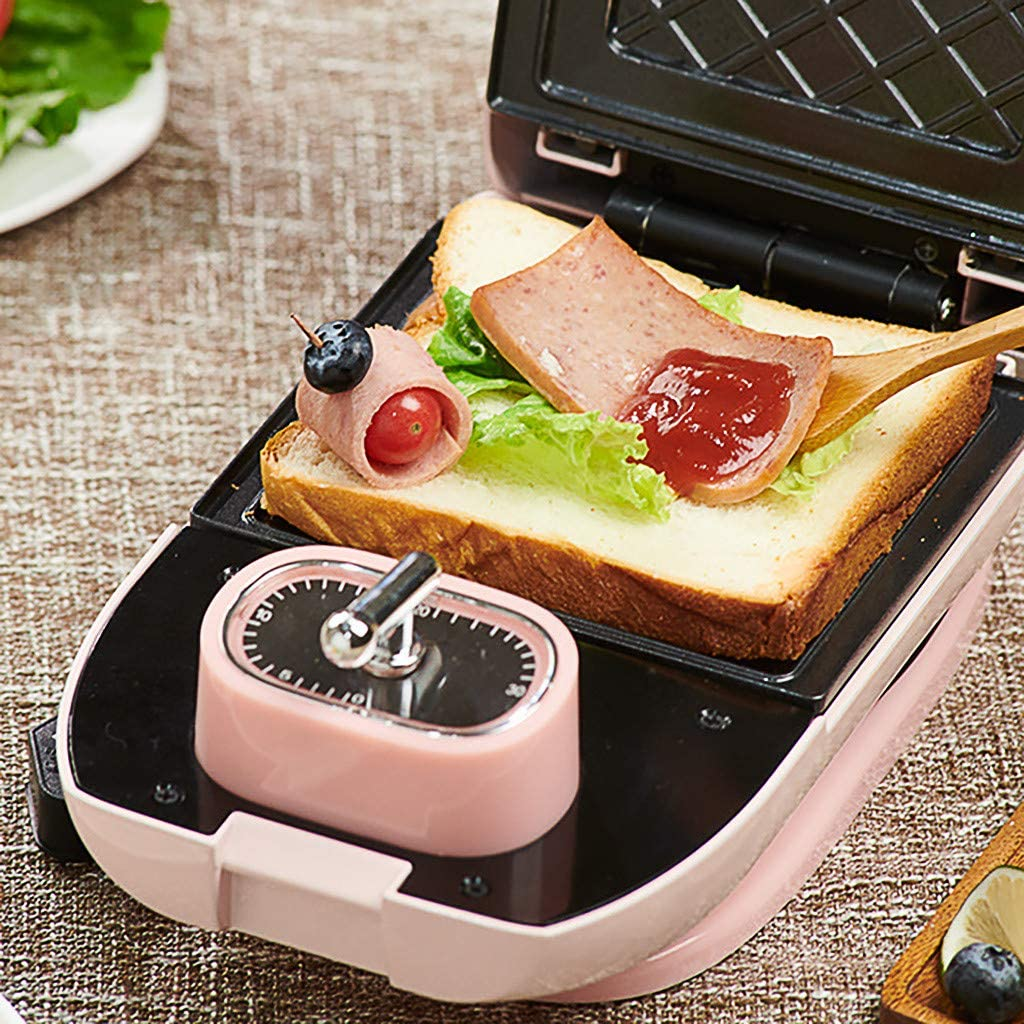 Healthy Breakfast Frisbee Sandwich Machine Mini Waffle Omelet Maker with Easy Clean Non Stick Coating for Lunch Snacks 5 Baking Trays