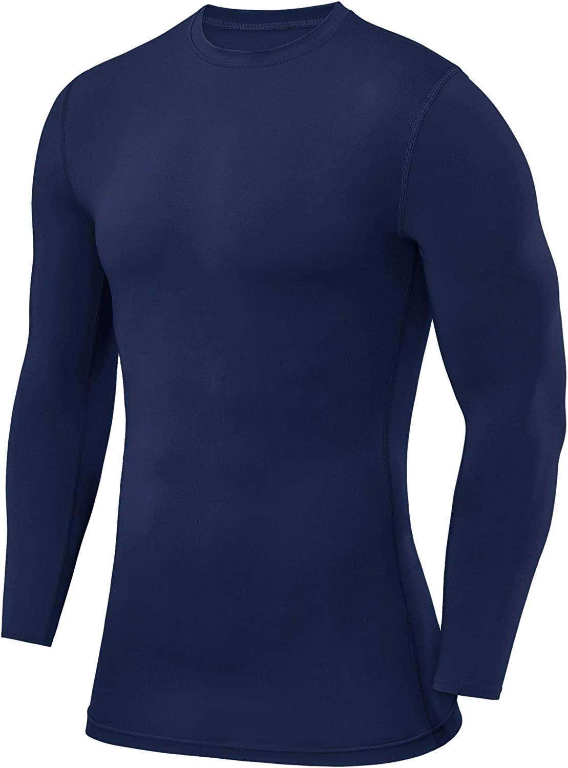 PowerLayer Men's and Boys' Compression Baselayer Top Long Sleeve Under Shirt - Crew Neck/Mock Neck: Clothing