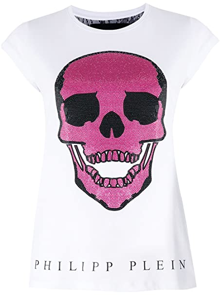 22b69ebd5a PHILIPP PLEIN t-Shirt Donna Bianca con Teschio Rosa (XS): Amazon.it ...