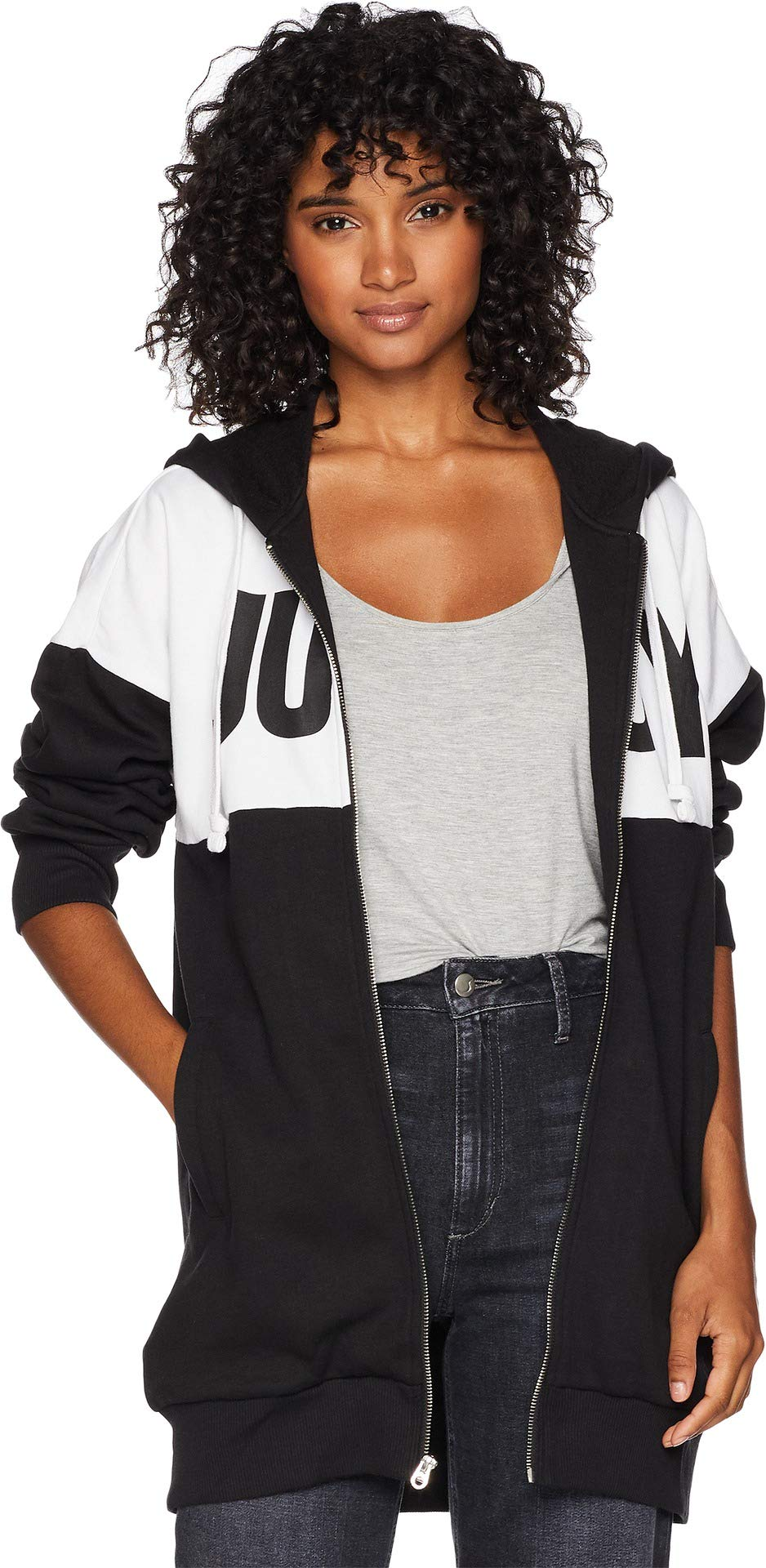 Juicy Couture Women's Fleece Color Blocked Oversize Jacket Pitch Black/White Large