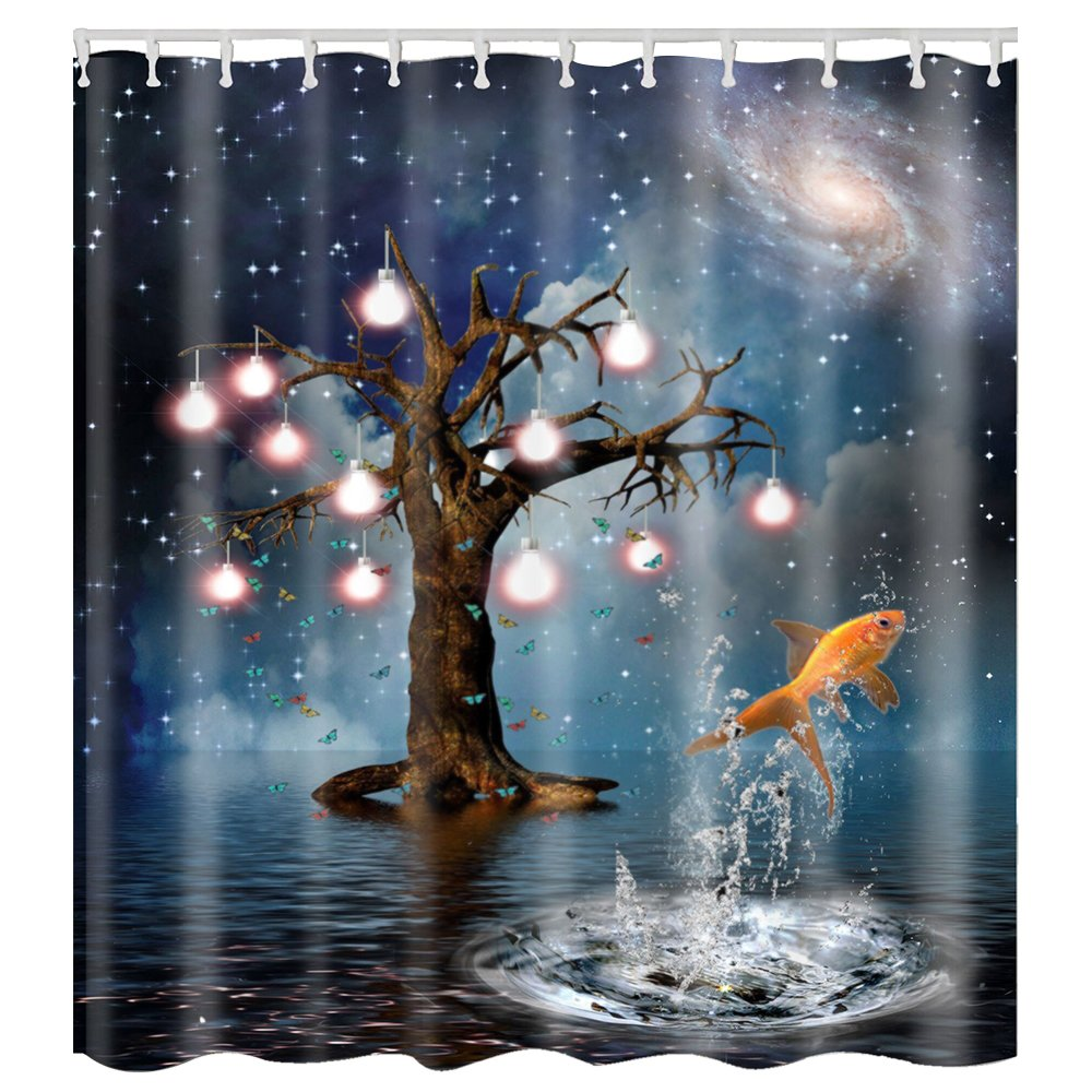 Seabed Sunshine Bathroom Shower Curtain Hooks Mildew Resistant Anti-Bacterial Waterproof Bath Curtain 70.9x70.9 Inches LITTHING
