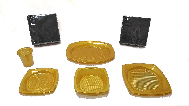 elegi. Platos de Plástico Desechables y Reciclables. Pack Fiesta 145 Piezas Dorado (20 Vasos, 18 Cuencos, 10 Bandejas, 25 Platos, 72 Servilletas Negras). Cumpleaños, Fiestas, Picnics, Niños, Bebé.