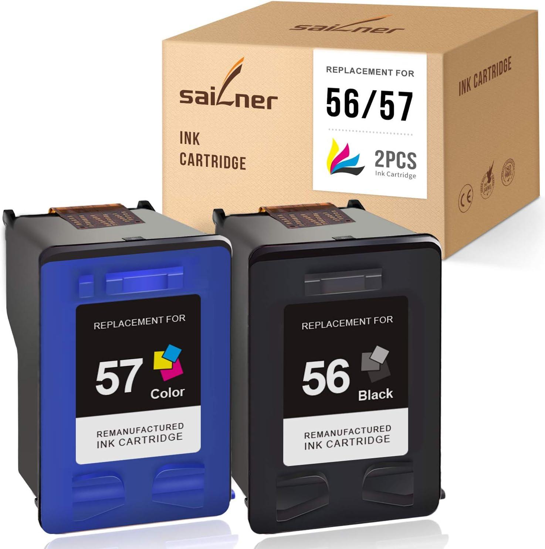 SAILNER Remanufactured Ink Cartridge Replacement for HP 56 57 use with PhotoSmart 7760 7960 7660 DeskJet F4180 5650 OfficeJet 5510 4255 PSC 2410 1350 (1 Black, 1 Tri-Color, 2 Pack)
