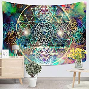 Spiritrual Abstract Spiritual Background with Sacred Geometry Wall Tapestry Wall Hanging for Bedroom Dorm Living Room Outdoor Wall Art Decor - 60