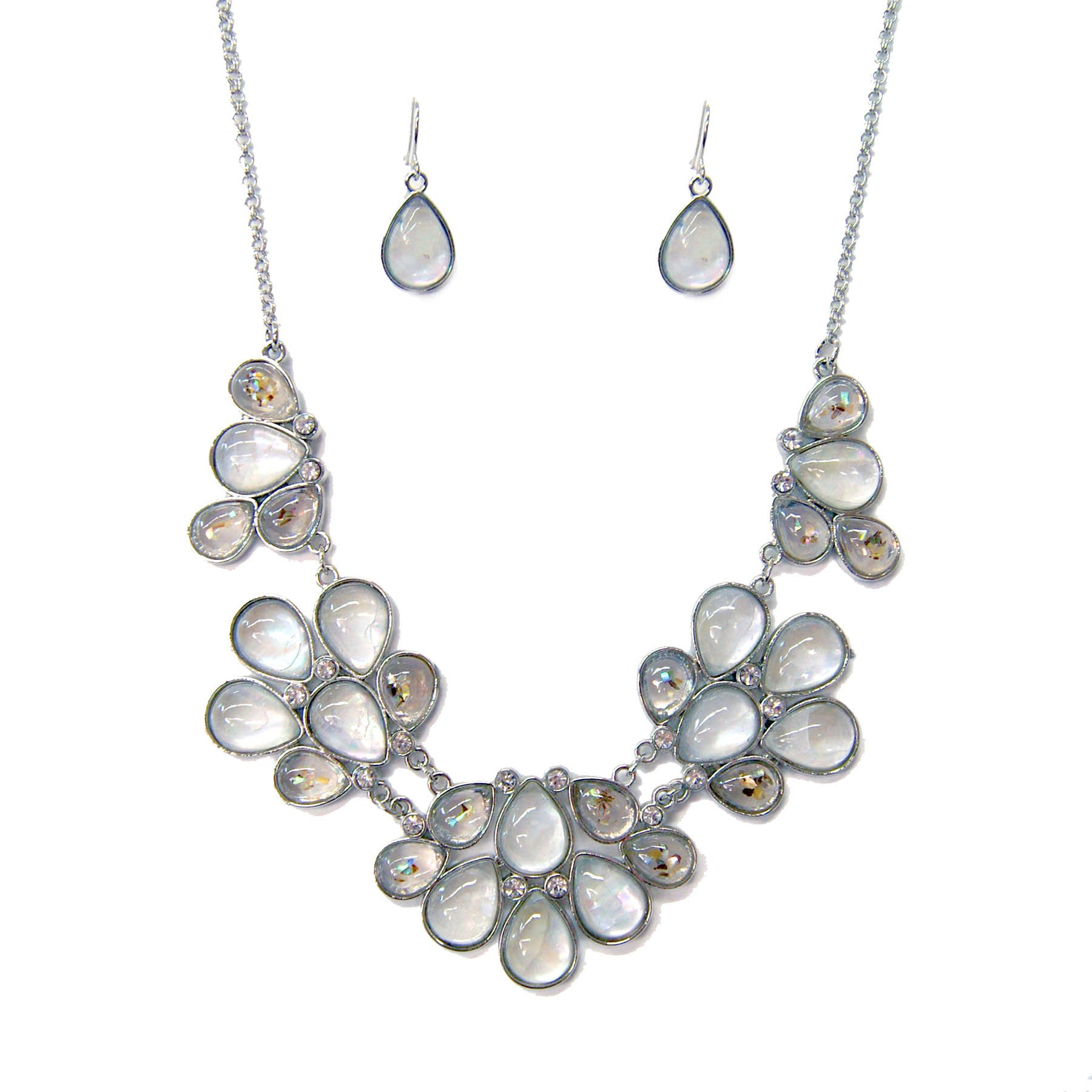 XS Accessories Lavender Gray Iridescent Glass Stone Teardrop Shape Necklace & Earring Set for Women or Girls