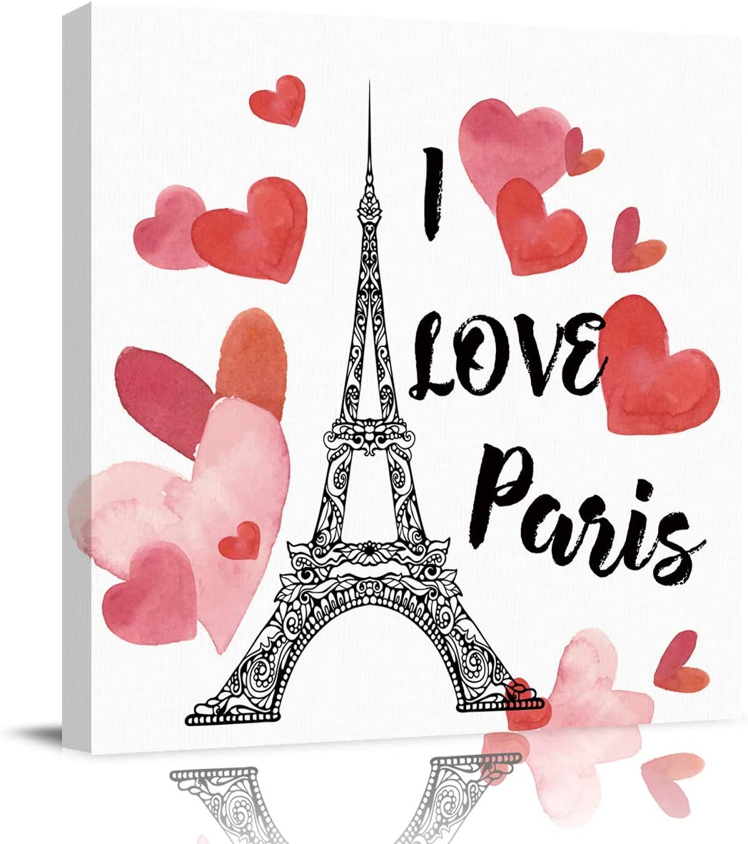 DOME-SPACE Square Canvas Wall Art Love Heart Shape Eiffel Tower Artwork for Living Rooms Bedroom Home Decor Ready to Hang,8x8 inches