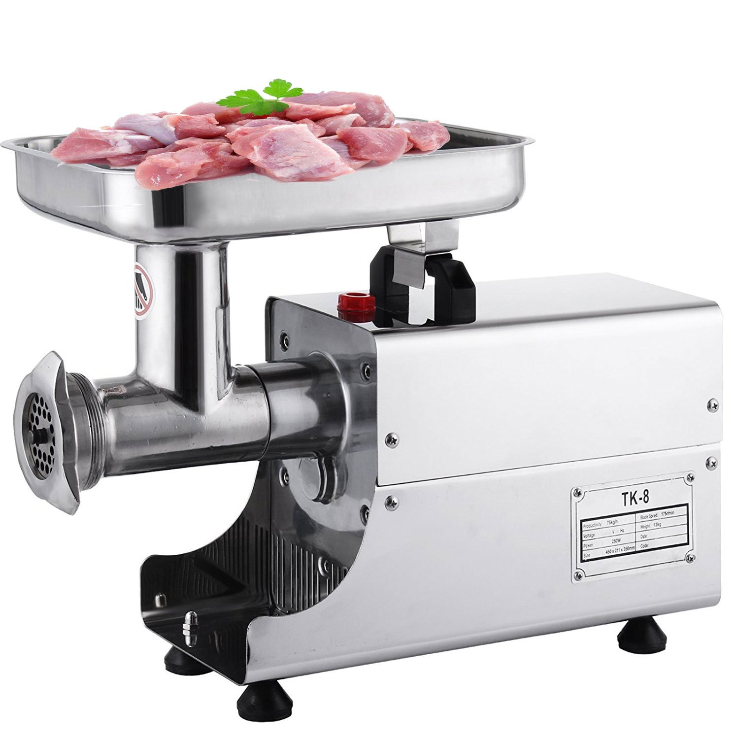 Happybuy Meat Grinder Electric 1.5HP/1100W Commercial Sausage Stuffer Maker Stainless Steel 220 RPM Maker for Industrial and Home Use (TK-8/250W)