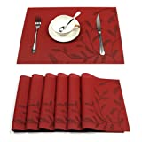 HEBE Placemats Set of 6 Heat-resistant PVC Placemat for Dining Table Woven Vinyl Stain Resistant Table Mats Easy to Clean