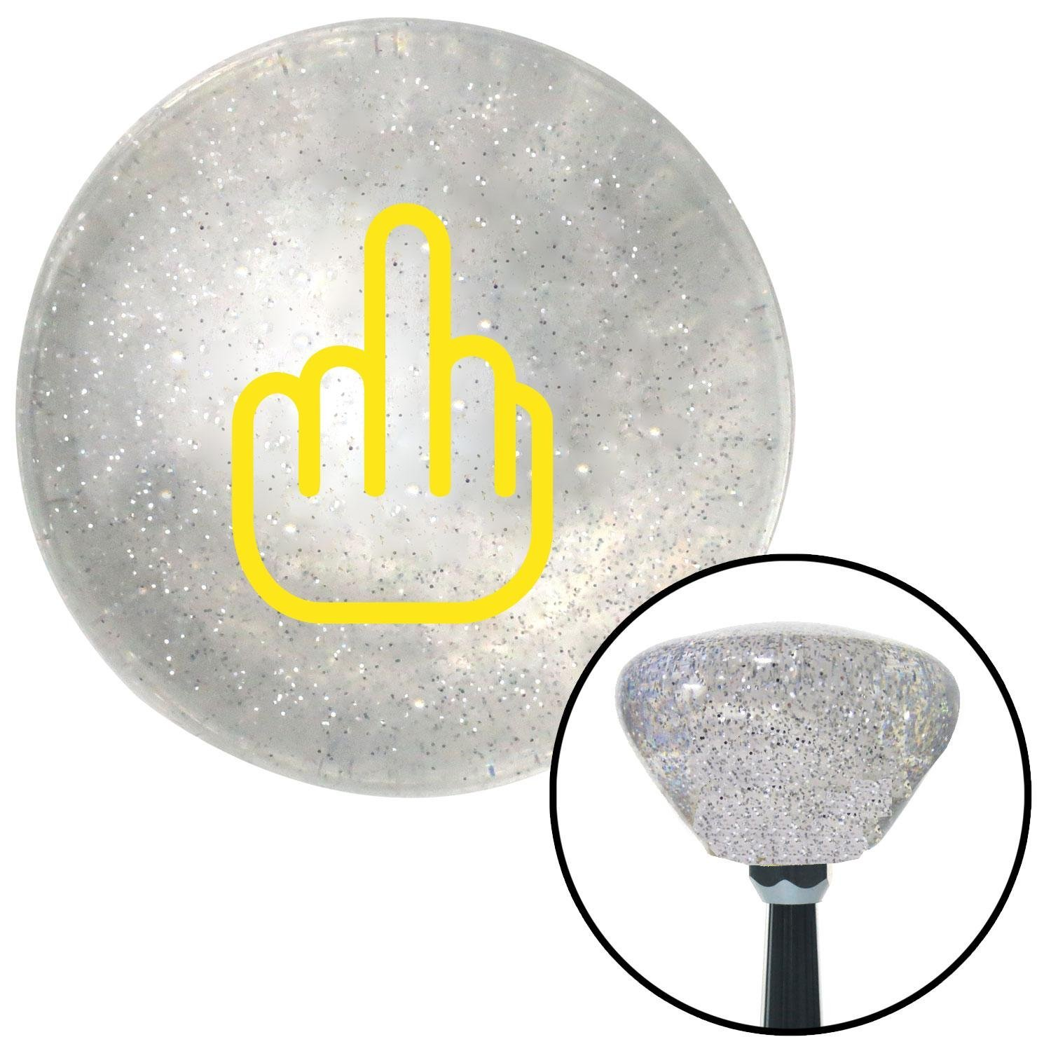 Yellow Smooth Middle Finger American Shifter 160965 Clear Retro Metal Flake Shift Knob with M16 x 1.5 Insert