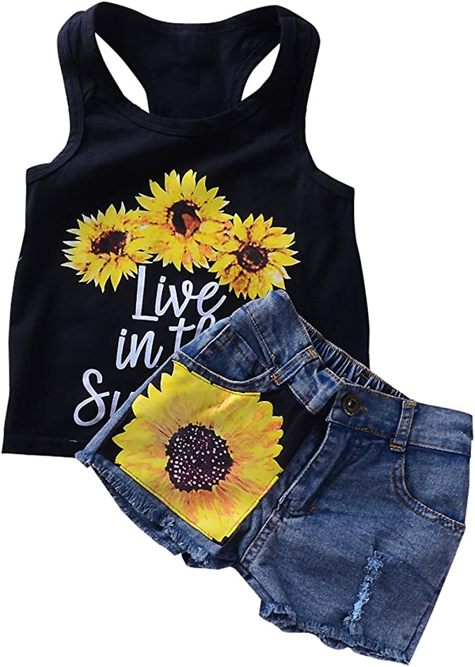 Borlai 2 Style Toddler Girl Sleeveless Vest Tops Floral Denim Shorts Outfits Set