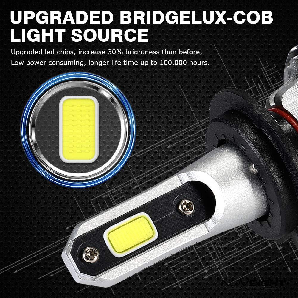 72w NOVSIGHT Headlight Bulbs H8//H9//H11 LED Head Lamp Bulbs for Cars 6500K Cool White 2x5000LM 2x36W 10000LM 2 Yrs Warranty