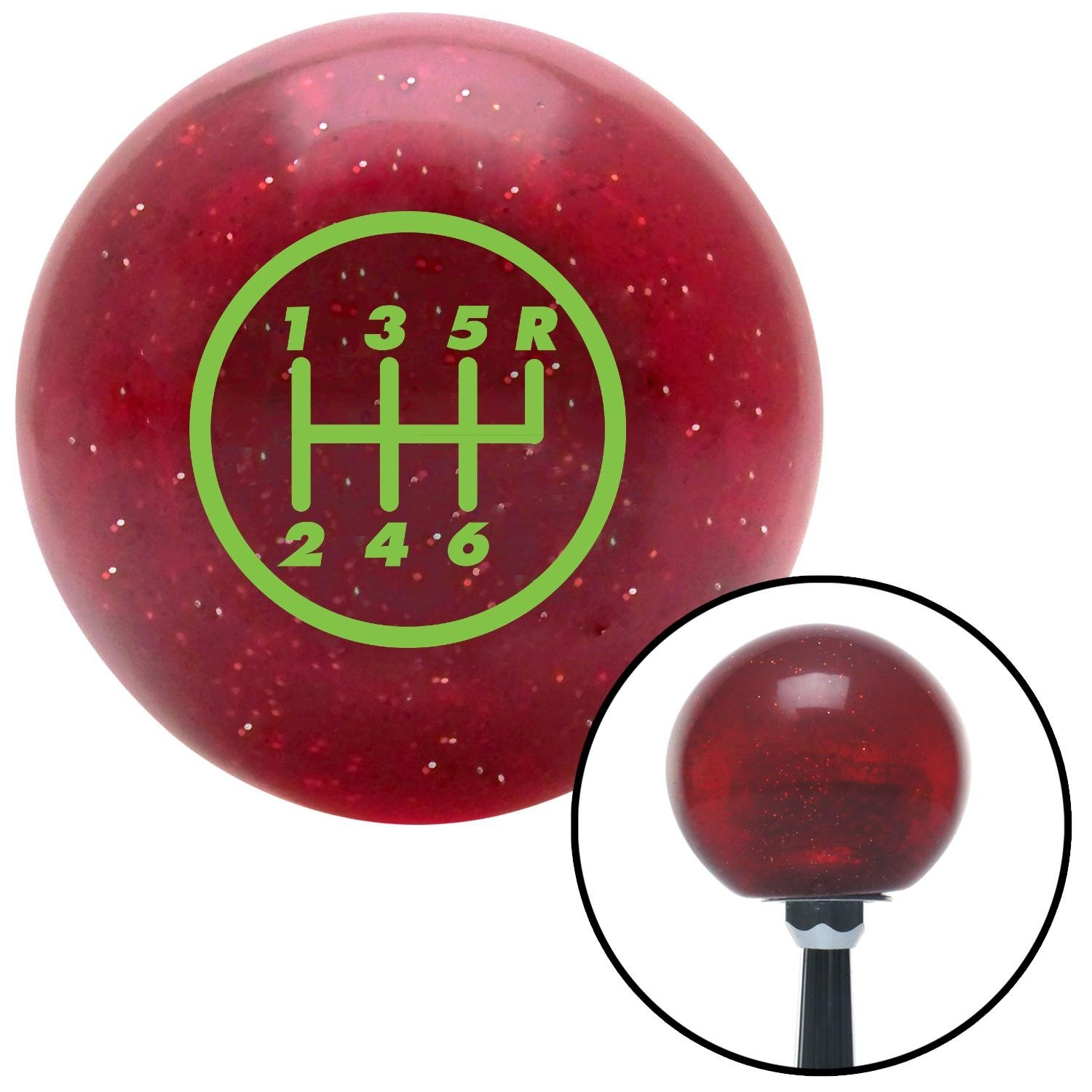 American Shifter 46744 Red Metal Flake Shift Knob with 16mm x 1.5 Insert Green 6 Speed Shift Pattern - 6RUR