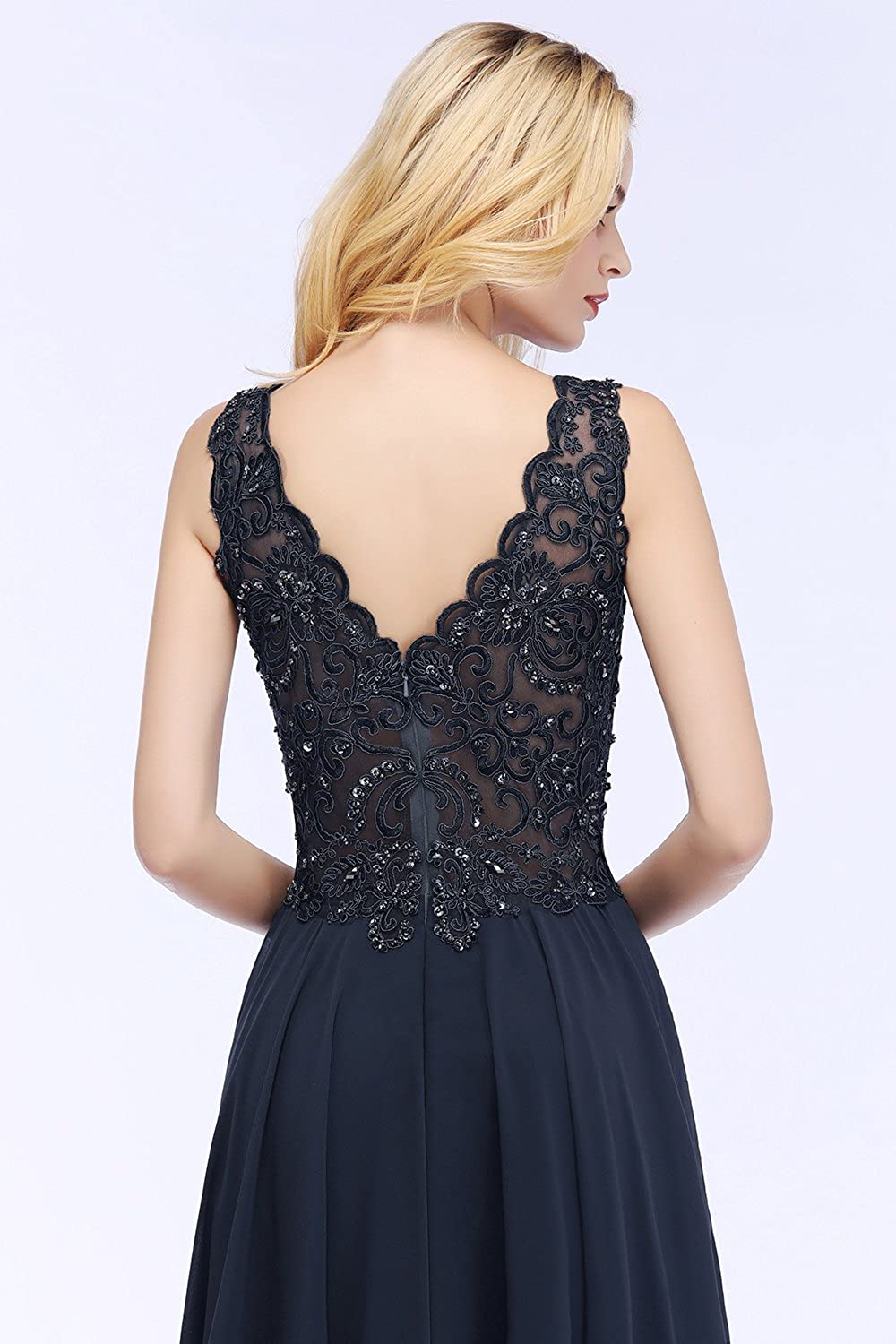 Womens Lace Applique Beads Chiffion Long Formal Evening Dress Prom Gown