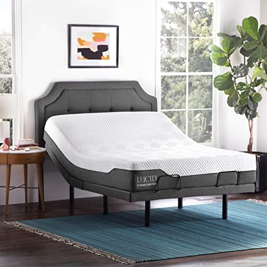 Amazon Com Lucid L300 Adjustable Bed Base With Lucid 12 Inch Memory Foam Hybrid Mattress Full Kitchen Dining
