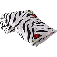 Clasiko Double Bed Comforter Zebra Red Rose, Fabric- Micro Cotton, Size - 84x84 Inches, Color Fastness Guarantee, 250 GSM