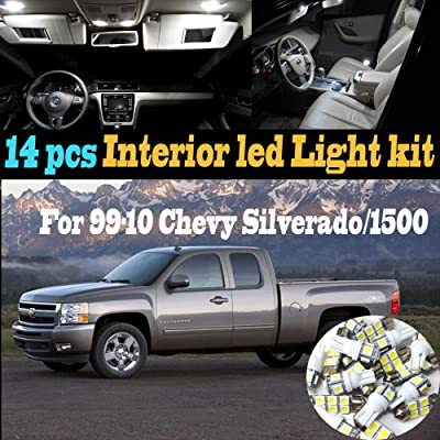 14Pcs White 6000K Interior LED Light Kit Package Compatible for 1999-2010 Chevrolet Silverado/1500/HD: Automotive
