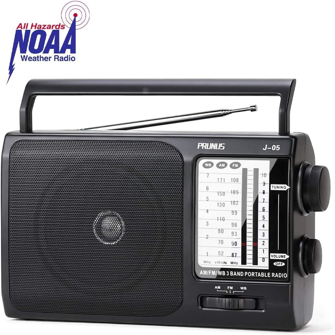 [Upgraded] PRUNUS J-05 Transistor Radio Battery Operated AM FM Radio with Excellent Reception, Portable Weather NOAA Radio Powered by 3X D Cell Batteries or AC Power for Household and Outdoor: Home Audio & Theater