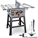 TACKLIFE Table Saw 10 Inch, 15-Amp 24T Blade 4800 RPM 45ºBevel Cutting With Pusher, Extended Desktop, Rip Fence, Miter Gauge,