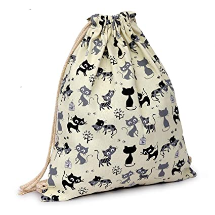 ac3826ef8862 BCDshop Gym Sack Bag Drawstring Sport Beach Travel Outdoor Backpack Canvas  Pouch Bag for Women (