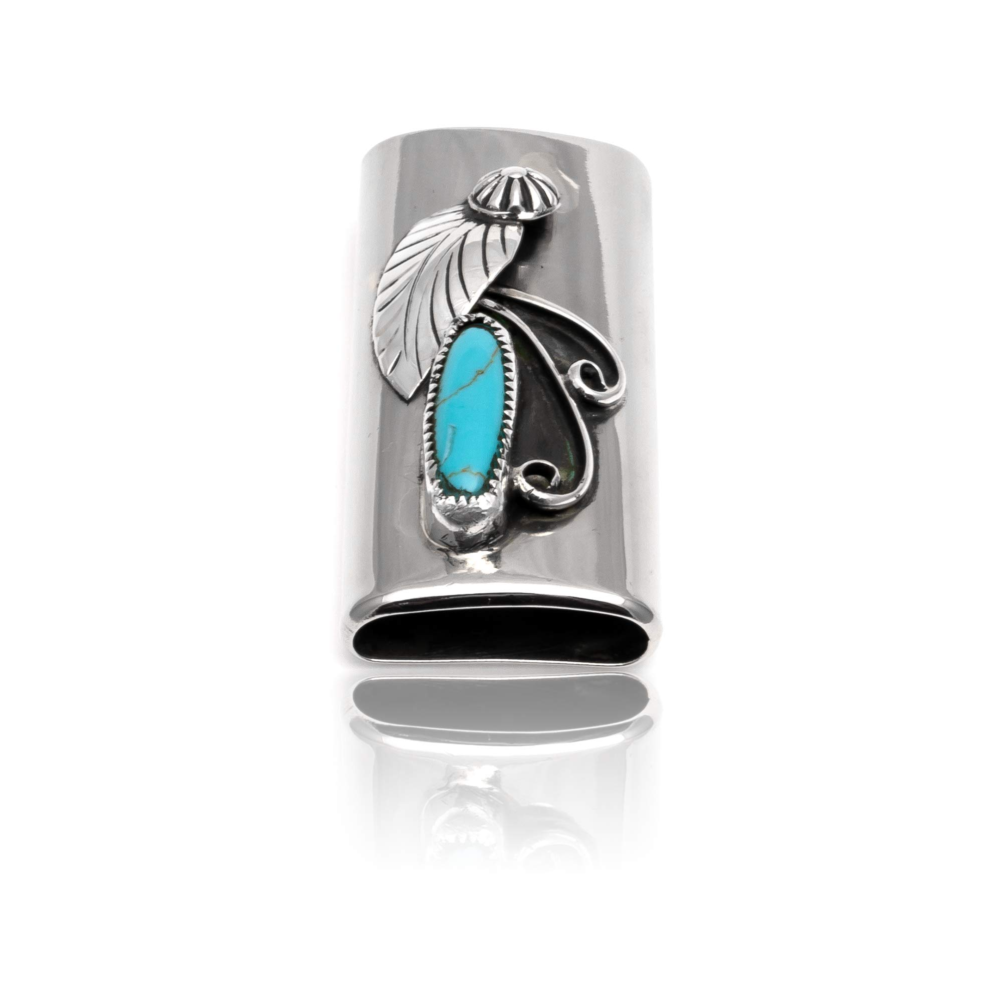 Native-Bay $200Tag Turquoise Silver Nickel Certified Navajo Flower Leaf Lighter Case 18334 Made by Loma Siiva by Native-Bay (Image #5)