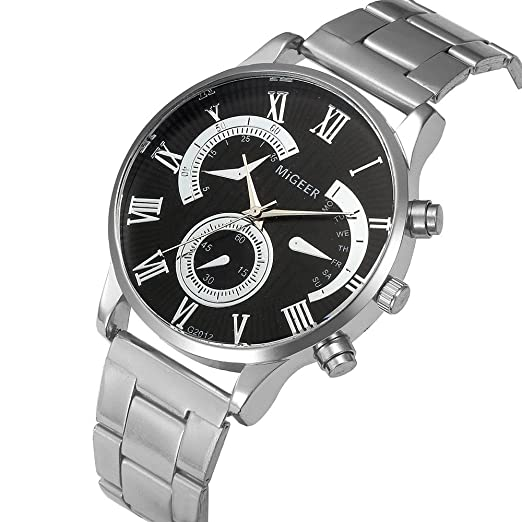 SKY Moda hombres cristal de acero inoxidable analógico cuarzo pulsera reloj  Analog Quartz Wrist Watch ( 454bd4e25992