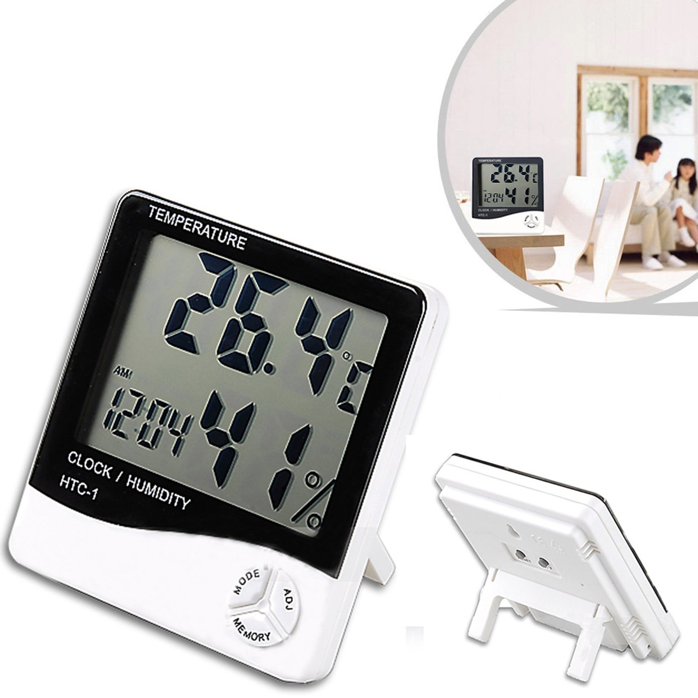 HDE Indoor Digital Humidity Meter Hygrometer Thermometer with Large LCD Display Temperature Alarm Clock AX-AY-ABHI-29919