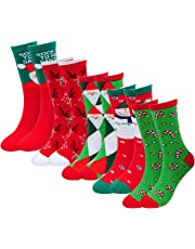 Womens Christmas Socks Compression Running Fuzzy Crew Unisex Funny Holiday Cotton Adult Novelty Cozy Crazy 6 Pack for Girls