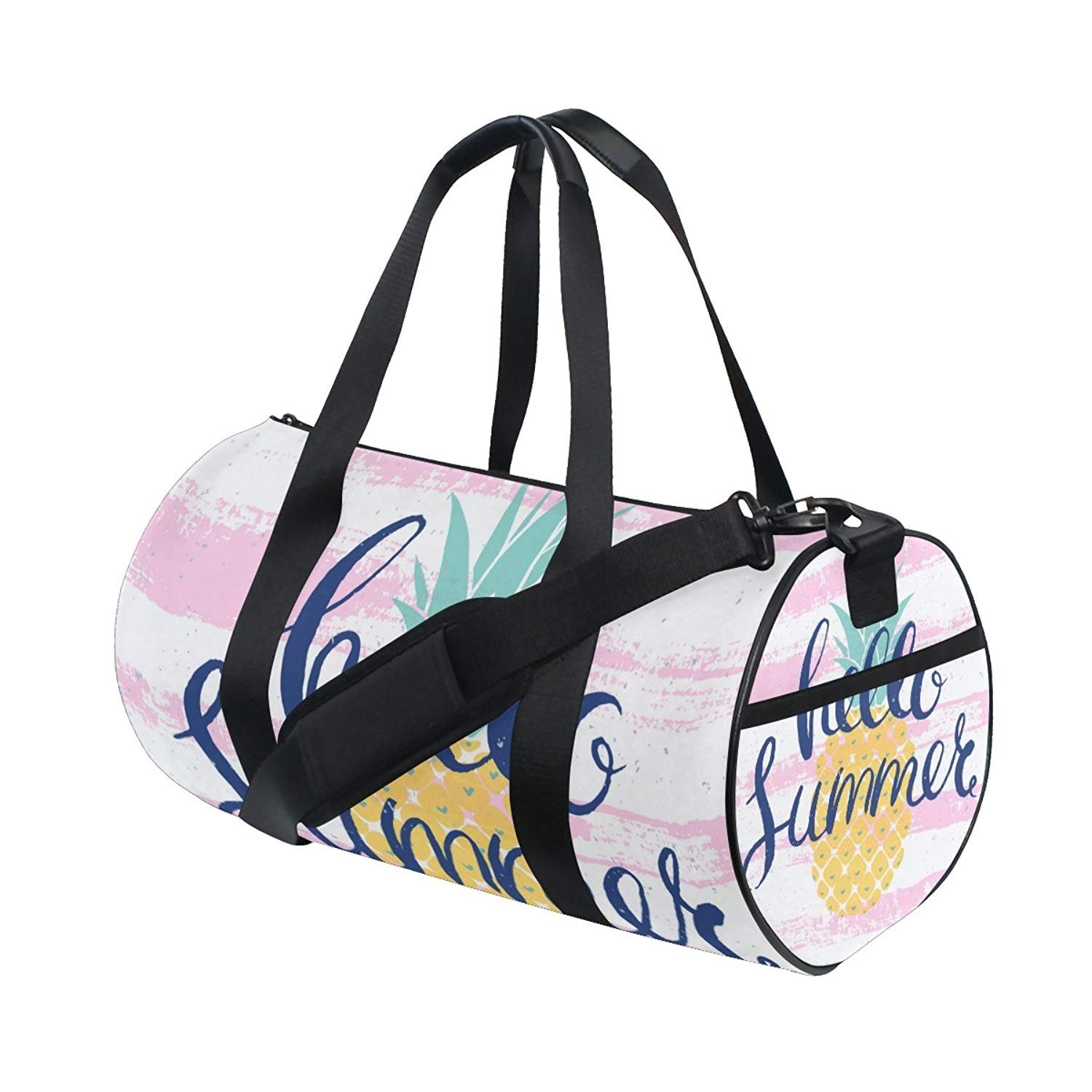 Hello Welcome Summer Tropical Pineapples Sports Gym Shoulder Handy Duffel Bags for Women Men Kids Boys Girls