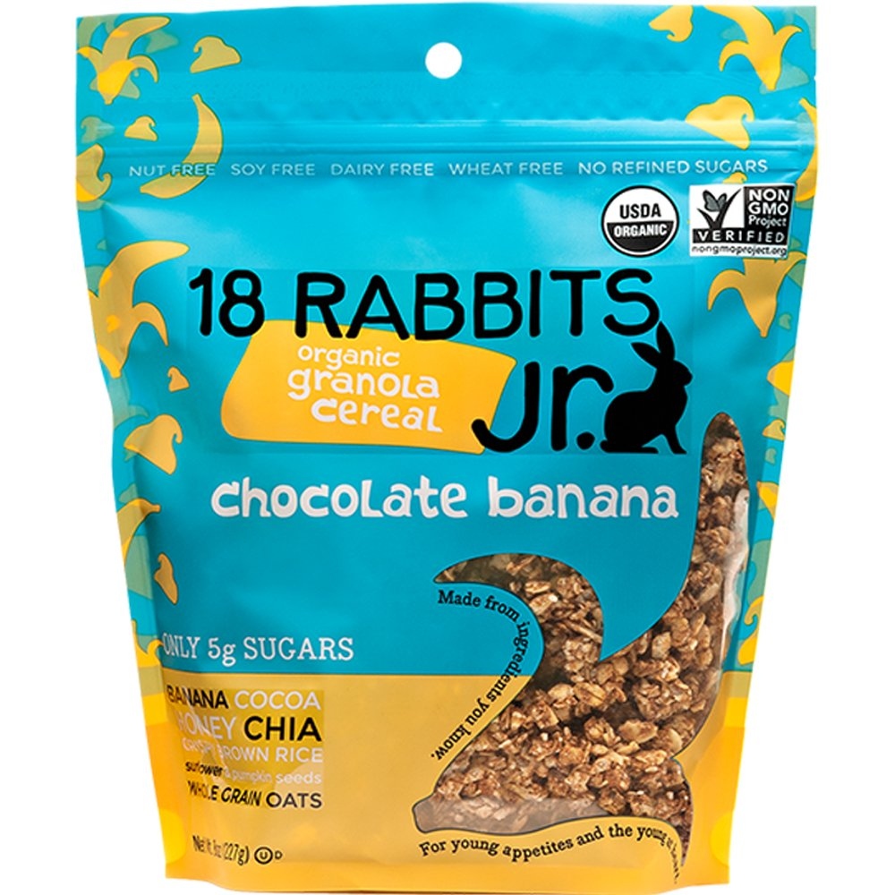 18 Rabbits Junior Organic Granola Cereal, Chocolate Banana, 8 Ounce