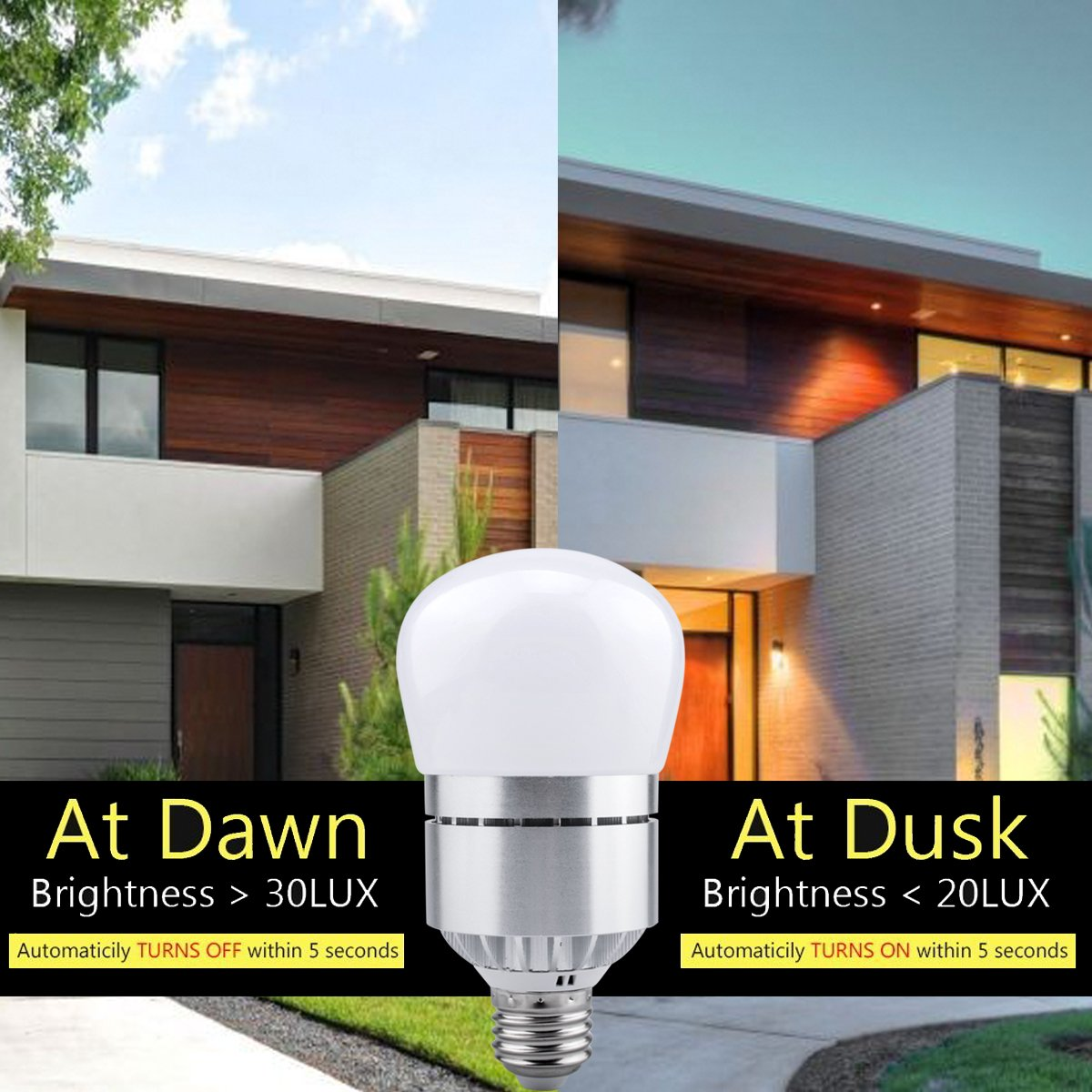 LED Light Bulbs Dusk to Dawn Sensor Lights Bulb Smart Lighting Lamp 12W 1200LM E26/E27 Socket 3200k Auto On/Off Indoor Outdoor Security Light for Porch, Garage, Driveway, Yard, Patio (Warm White) by Vgogfly (Image #5)