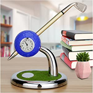 10L0L 2019 Newest Version Mini Desktop Golf Ball Pen Stand with Golf Pens 2-Piece Set of Golf Souvenir Tour Souvenir Novelty Gift