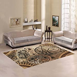Love Nature Sweet Home Modern Collection Custom Steampunk Collage of a Mechanical Device Area Rug 7'x5' Indoor Soft Carpet