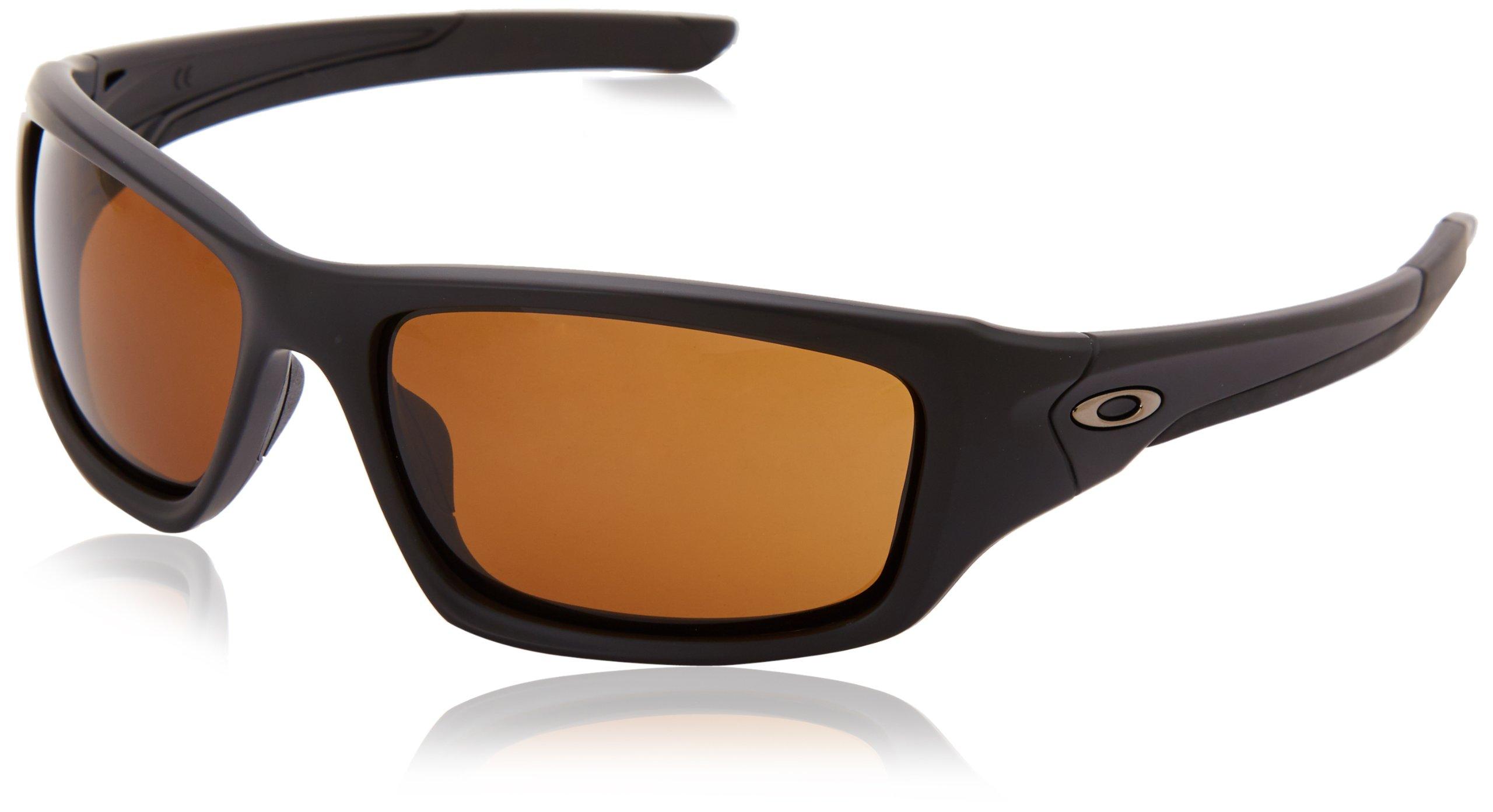 OAKLEY Valve OO9236-03 Rectangular Sunglasses,Matte Black/Orange 60mm
