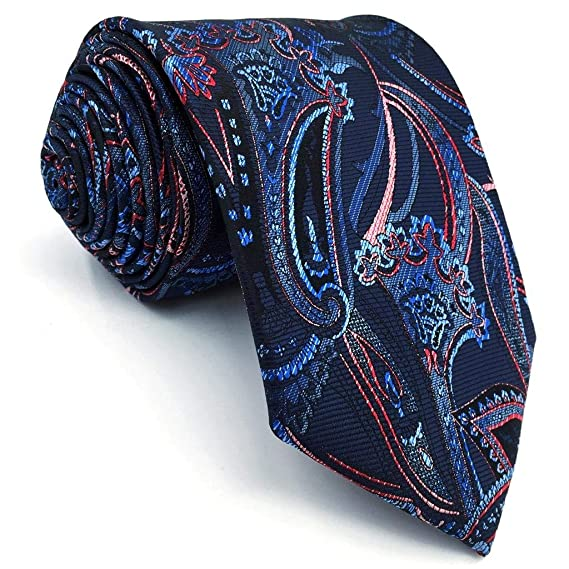 S/&W SHLAX/&WING Silk Ties for Men Paisley Mens Neckties Blue Green New