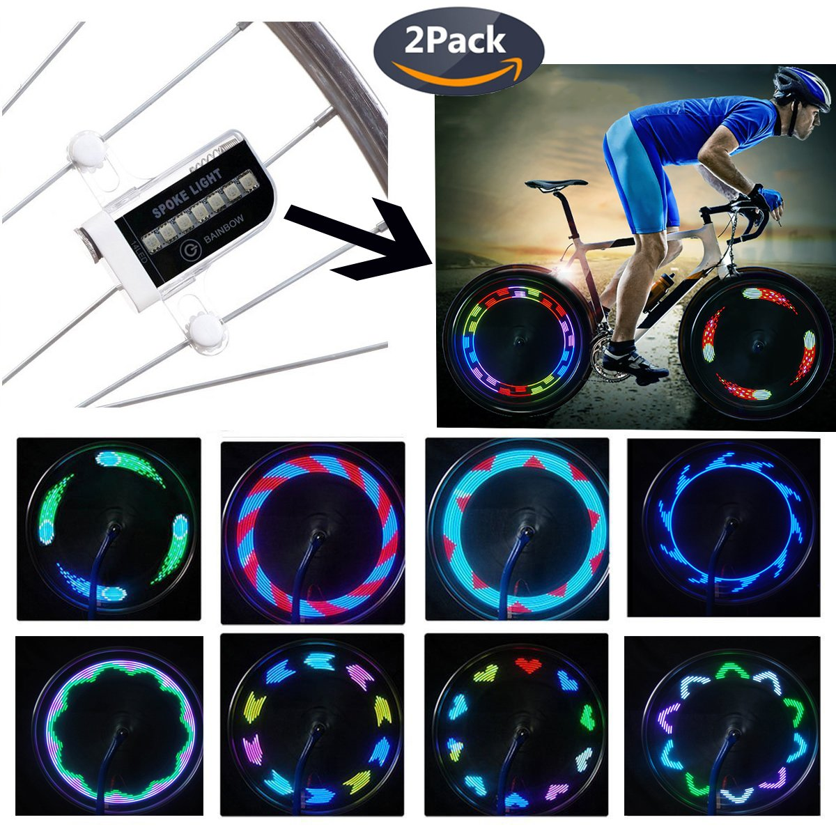 QANGEL Bike Wheel Lights,Waterproof Bike Spoke Lights Ultra Bright 14 LED Bicycle Wheel Lights,Safety Cool RGB Bike Tire Light for Kids Adults,30 Patterns Changes, Auto & Manual Dual Switch (2 Pack) by QANGEL (Image #1)
