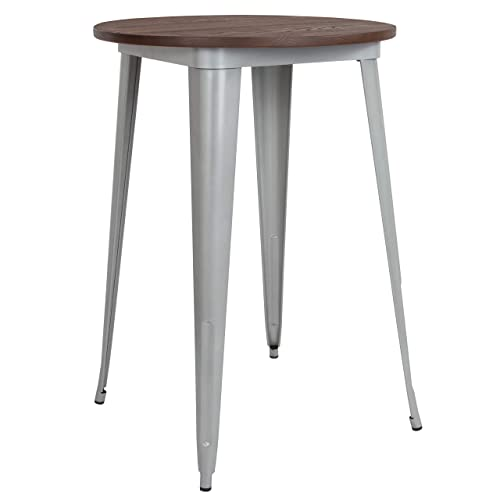 Taylor Logan 30 Inch Round Metal Indoor Bar Height Table with Walnut Rustic Wood Top, Silver