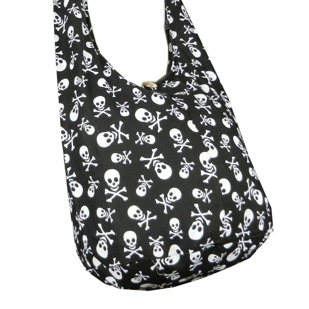 BTP! Skull Punk Rock Hippie Hobo Thai Cotton Sling Crossbody Bag Messenger Purse (Black SK1)