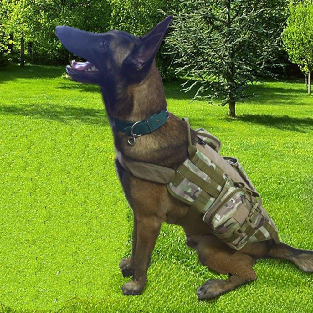 Army green camouflage XL Army green camouflage XL Mr Teck Tactical Dog Vest Wear-Resistant Soft Padded Comfortable Military Patrol K9 Dog Harness for Pets (XL, Army Green Camouflage)