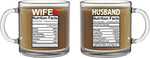 Husband and Wife Nutrition Facts - 13oz Glass Coffee Mug Couples Sets - Funny His and Her Gifts - Husband and Wife Anniversary Presents - Wedding Gift - By CBT Mugs