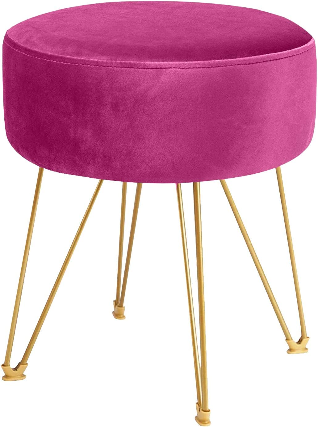 ERONE Round Footstool Ottoman Velvet Dressing Stool with Gold Metal Legs Upholstered Footrest,Makeup Chair Side Table for Kitchen Bedroom Living Room (Purple)
