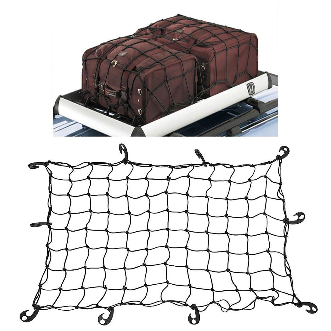 WINOMO Car Storage Net Heavy Duty Stretchable Latex Bungee Cargo Net Roof Netting with 12pcs Plastic Hooks