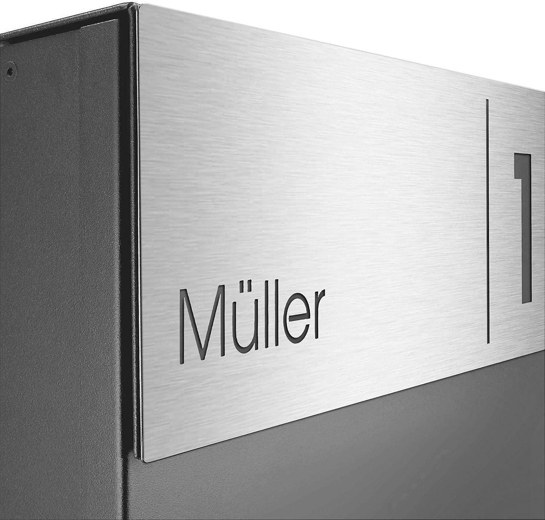 Edelstahl Hausnummer-//Namensschild Gravur basaltgrau modern gro/ß MOCAVI Box 570 Design-Briefkasten inkl RAL 7012