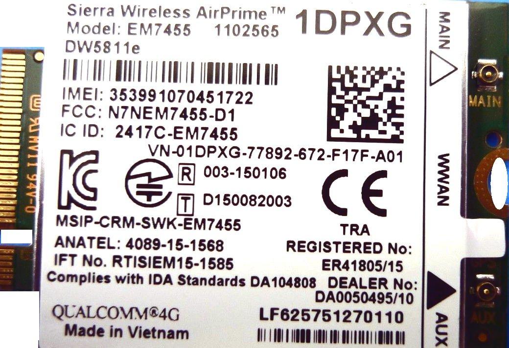 Dell DW5811e Sierra Wireless Card Airprime EM7455 LTE 4G WWAN Module Card 1DPXG