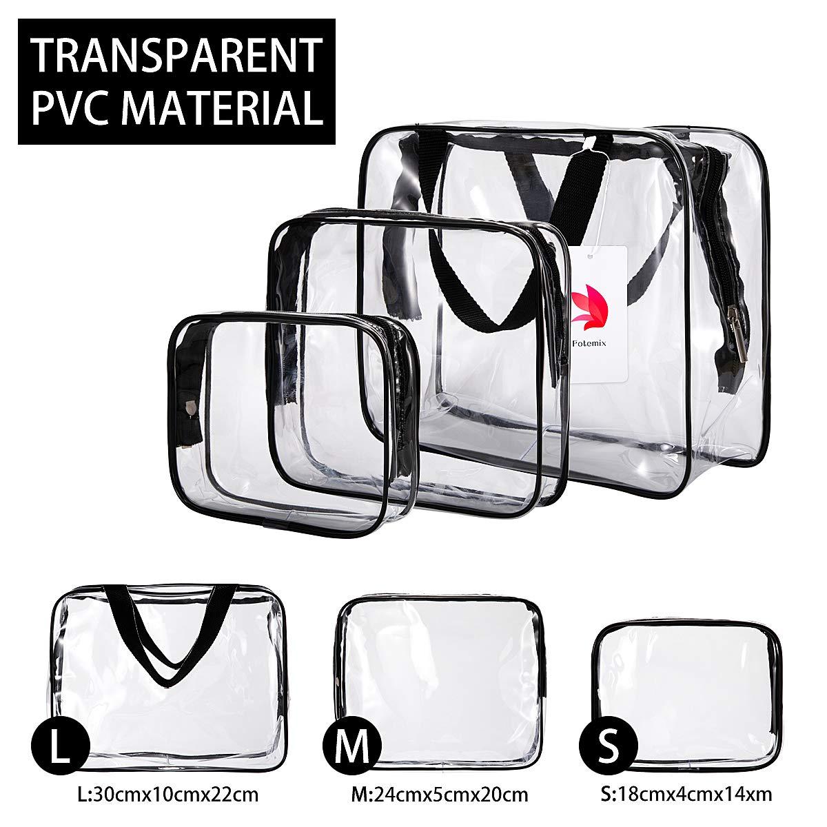 Conjunto de 3 neceseres o bolsas de PVC resistente con 3 tamaños.