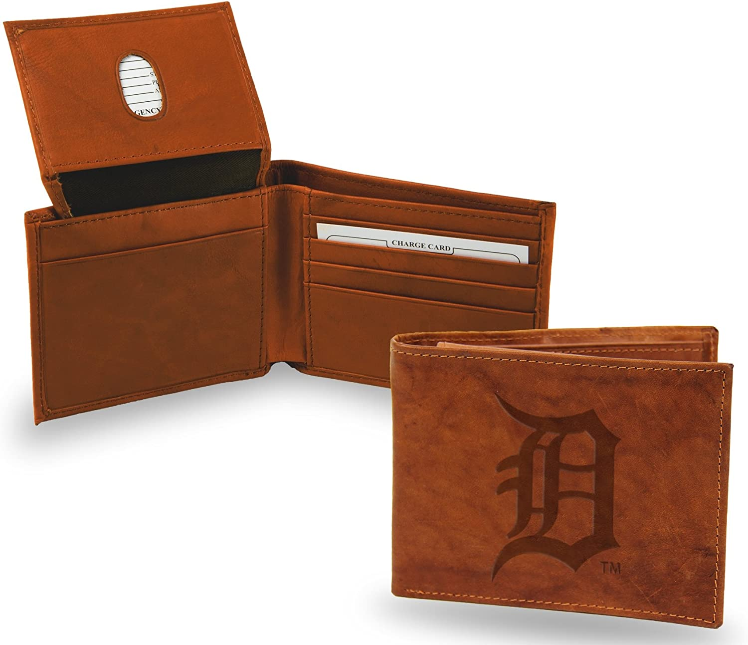 Rico Industries Boston Red Sox Wallet Premium Brown Leather Billfold Embossed Bifold Baseball