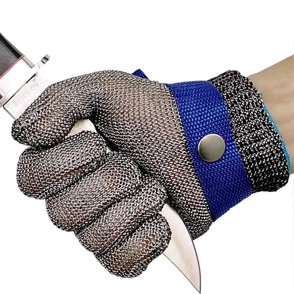 S OKAWADACH Guantes Anticorte Seguridad Corte prueba pu?alada resistente acero inoxidable de malla met/¨/¢lica carnicero guante de color azul talla M nivel 5