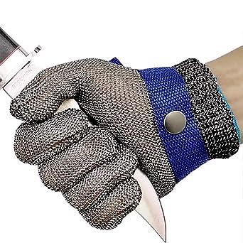 OKAWADACH Guantes Anticorte Seguridad Corte prueba pu?alada resistente acero inoxidable de malla met¨¢lica carnicero guante de color azul talla M ...