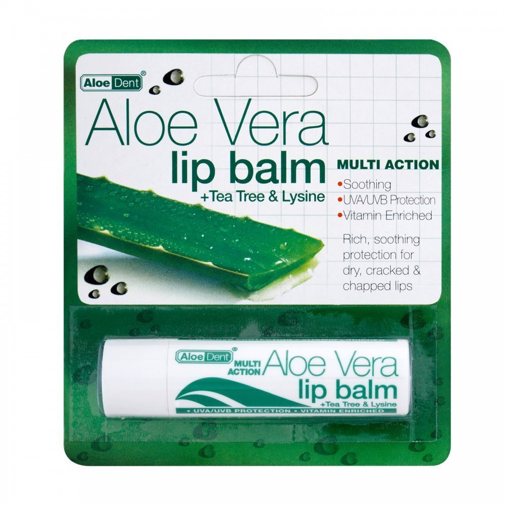 Aloe Dent Aloe Vera Lip Balm with Tea Tree & Lysine 4g (Pack of 3) William Ranson