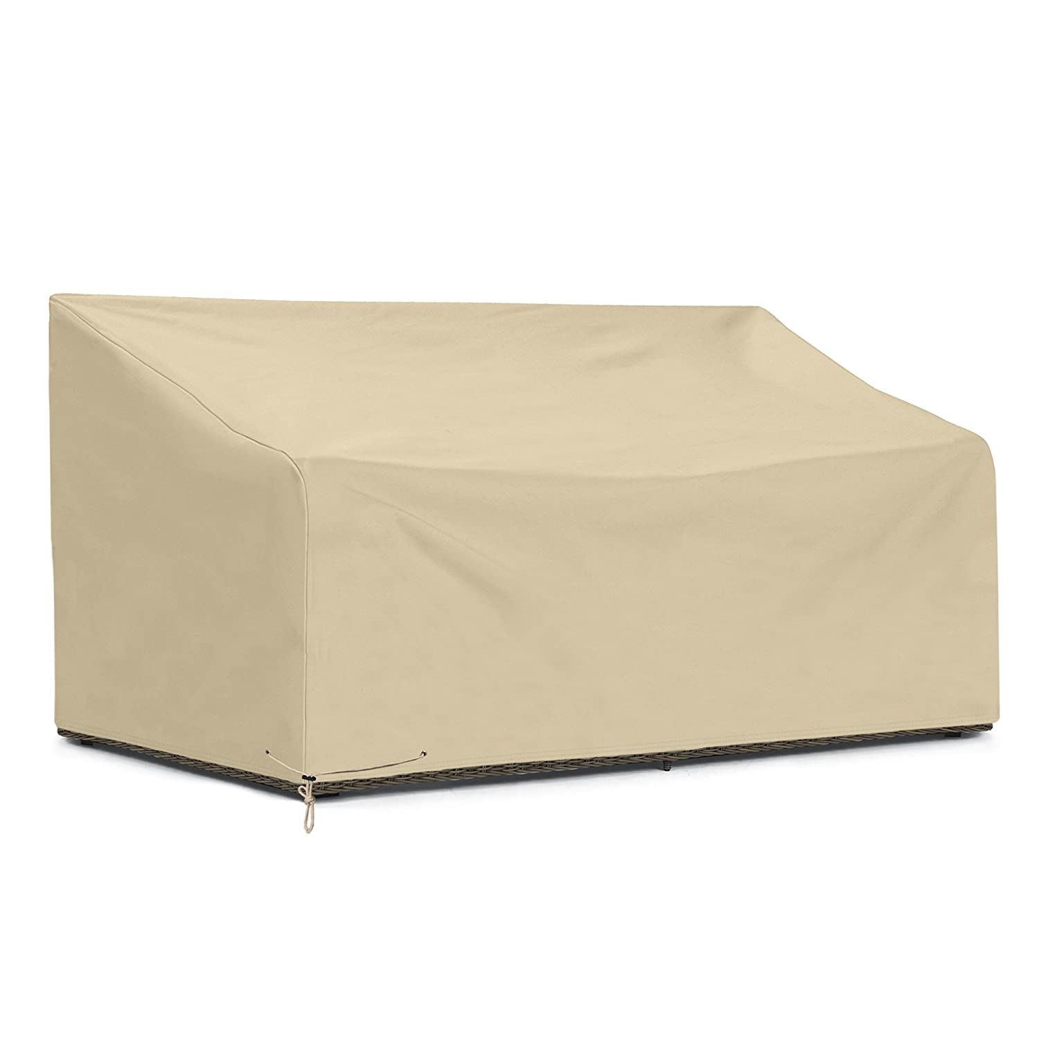 SunPatio Outdoor Sofa Cover, Patio Veranda Bench/Loveseat Furniture Cover 60 L x 33 W x 30/22 H, Durable and Water Resistant, All Weather Protection, Beige SD20012