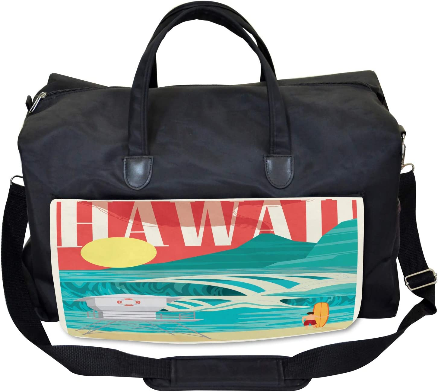 Large Weekender Carry-on Hawaii Holiday Coast Ambesonne Tropical Gym Bag